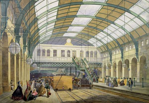 View of King's Cross Underground Station, c.1865 (colour litho)