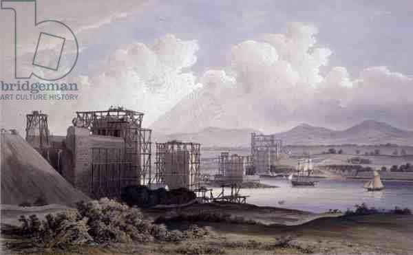 Britannia Tubular Bridge over the Menai Straits, taken during construction in 1848, lithograph by Day and Son, 1848 (colour litho)