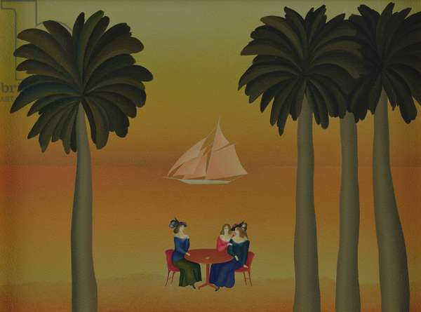 Woman with Sailboat and Palms
