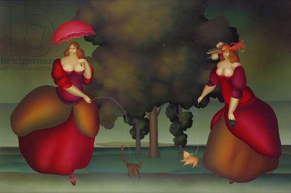 Woman Walking Piglet