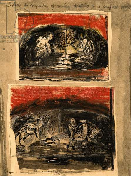 Ideas for composition of miners drilling in a confined stope, 1942 (pencil, pen and ink, gouache, pastel and collage)