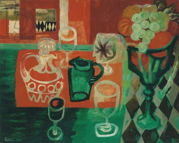 Orange and Green Still Life, 1957 (oil on canvas)