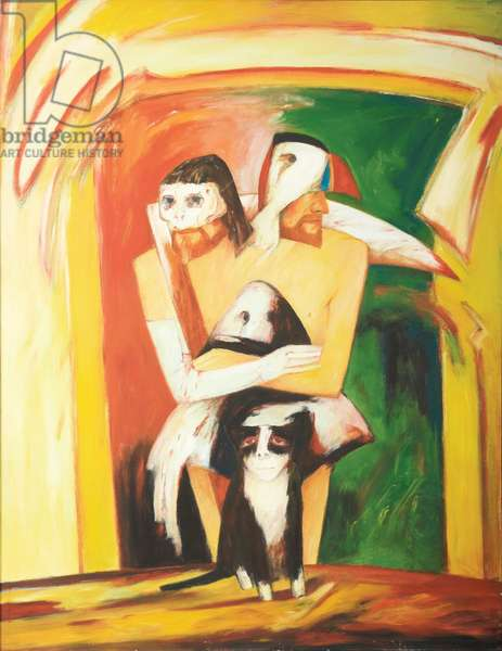 Self Portrait (Two Heads), 1971 (oil on canvas)