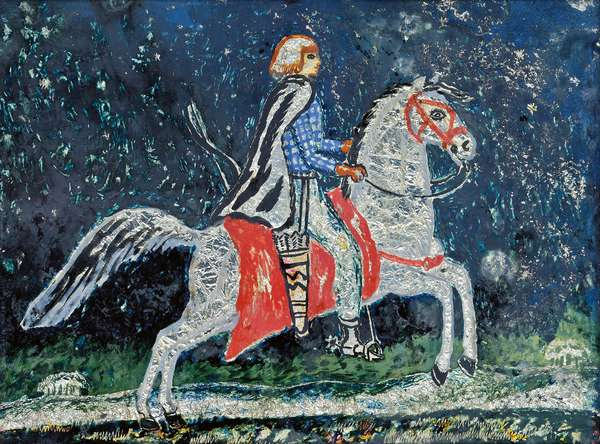 Iris Tree on a Horse, c.1920s (oil, ink, silver foil & mixed media on glass)
