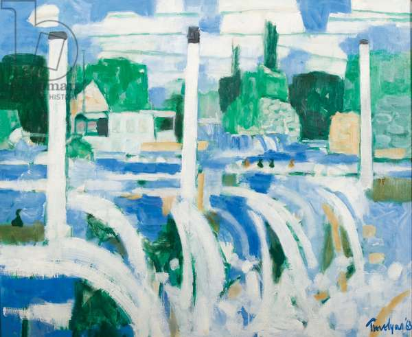 Thames Houseboats, The Weir, 1963 (oil on canvas)