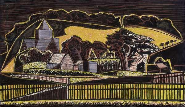 Landscape, Tresco, 1954 (w/c, gouache & coloured crayons on paper)
