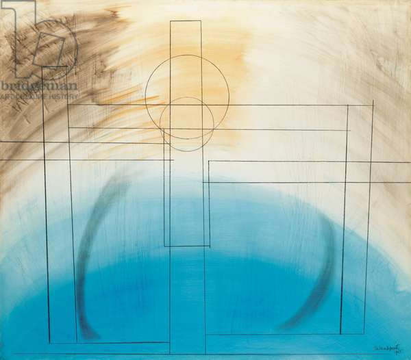 Construction 1, 1965 (oil & pencil on gesso-prepared board)