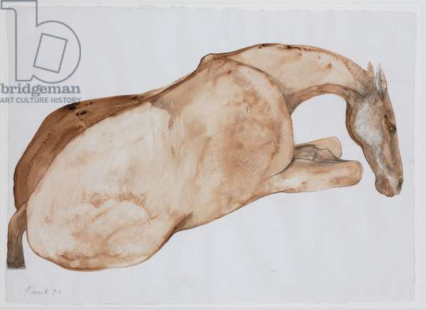 Lying down horse, 1977 (w/c & pencil on paper)