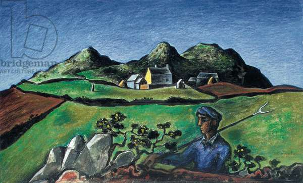 Reaper in a Welsh Landscape, 1945 (pastel & coloured crayon on paper laid on panel)