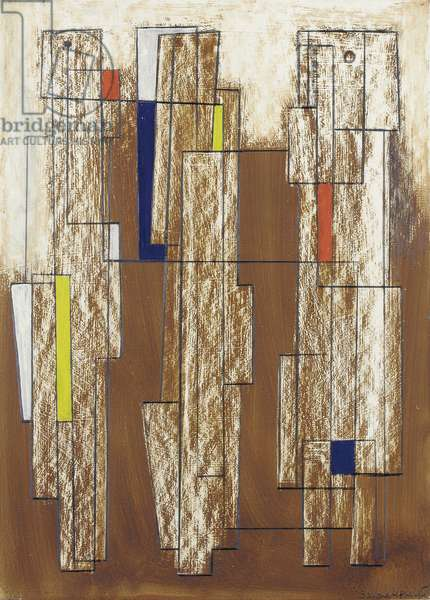 Granite Forms, red, yellow and deep blue, 1953 (pencil & oil on gesso-prepared board)