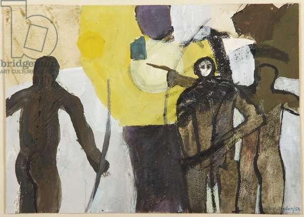 Archers, 1959 (gouache on paper)