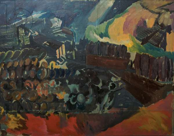 Bomb Store: Study for Memorial Panel I, 1942 (oil on paper laid down on canvas)