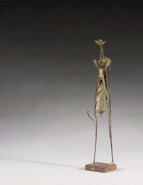 Young Girl, 1951 (welded copper sheet & copper wire on a wood base)