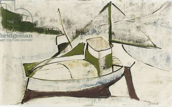 Fishing Boat, 1948-49 (pen & ink with gouache over monotype base)