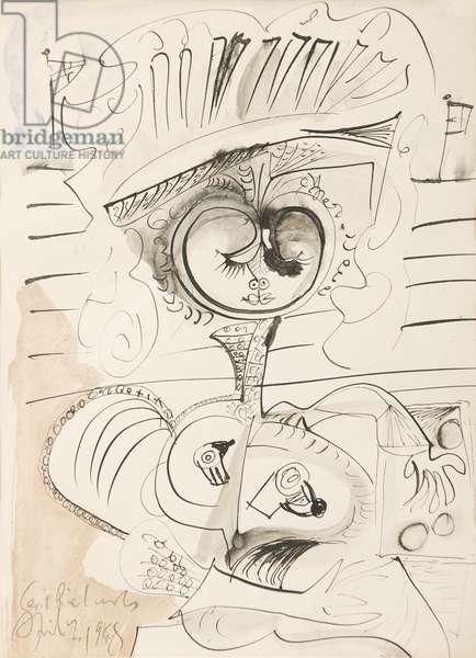Costerwoman, 1948 (pen, ink & w/c on paper)