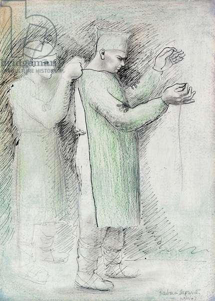 Two Figures, 1947 (pen & black ink, green crayon & pencil)