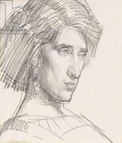 Portrait of Lady Ottoline Morrell, 1910-11 (black chalk)