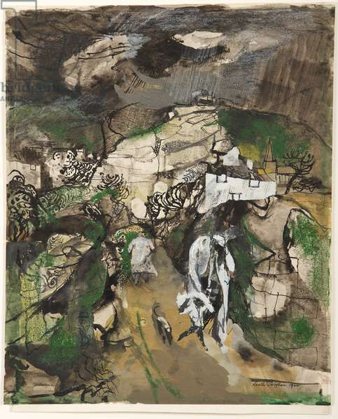 Rain on the Just and Unjust, 1944 (crayon, ink & gouache on paper)