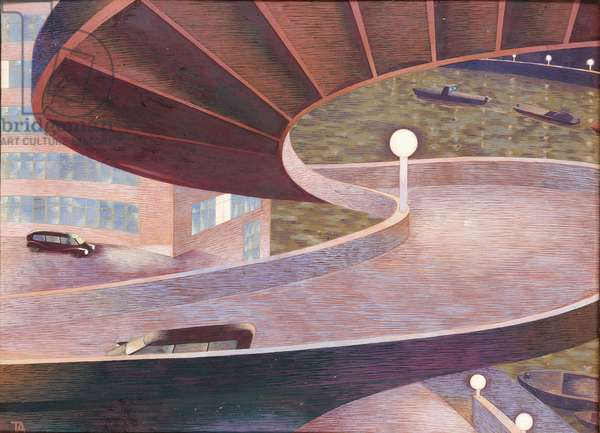 Roads, 1941-43 (tempera on paper laid on board)