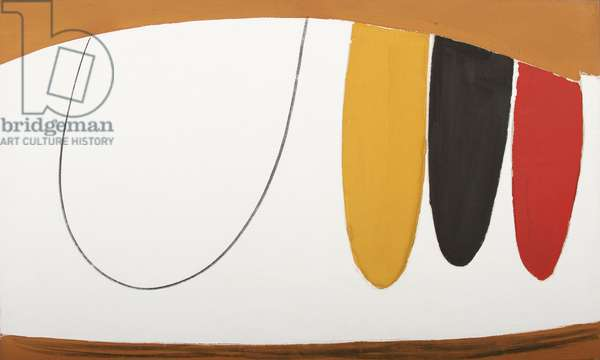 Suspended Red, Black and Ochre, 1974 (oil on canvas)