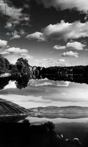 Landscape with lake (b/w photo)