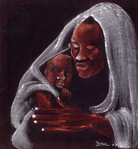Father and Son, 2003 (oil on suede)