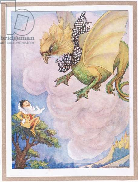 The griffin saw a little yellow man sitting on the top of a tree (colour litho)