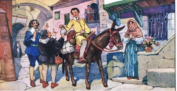 Gill Blas of Santillane: Leaving Oviedo, from colour Liebig postcards, 1940's (colour litho)