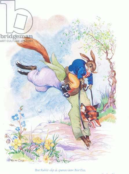 Brer Rabbit slap de spurrers inter Brer Fox, illustration from 'Uncle Remus ' (colour litho)