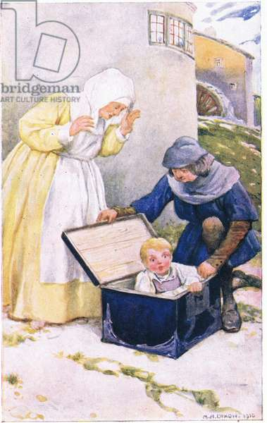 They turned the key and opened the chest (from the story Rich Peter the Pedlar), illustration from'A Book of Stories from the Norse', 1911 (litho)