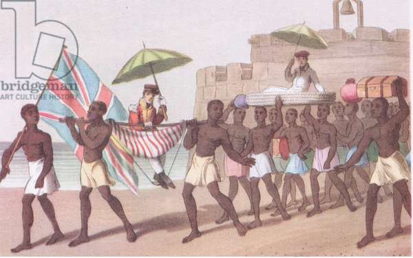 Mode of travel in Africa (W Hutton's Voyage to Africa 1821), from British Adventure published by Collins, 1947 (colour litho)