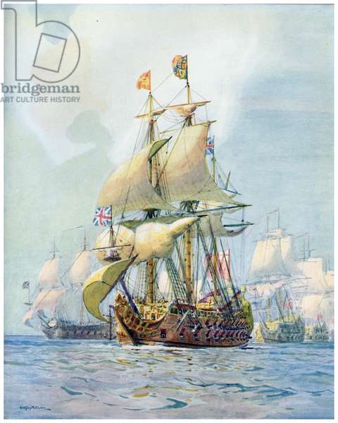 The Royal Charles 1660, illustration from 'Ships That Have Made History', published by Peter Davies and Lovat Dickson, 1936 (colour litho)