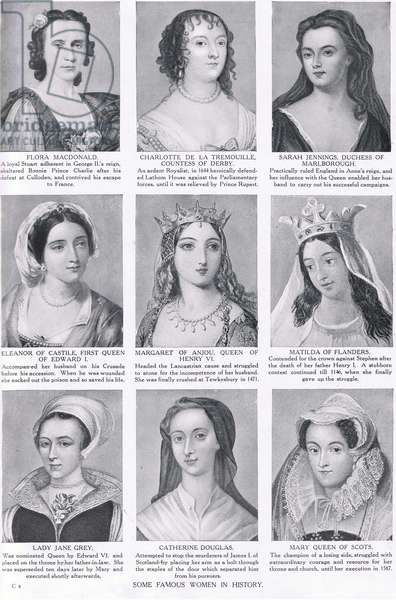 Some Famous Women in History, illustration from 'Hutchinson's History of the Nations', c.1910 (litho)