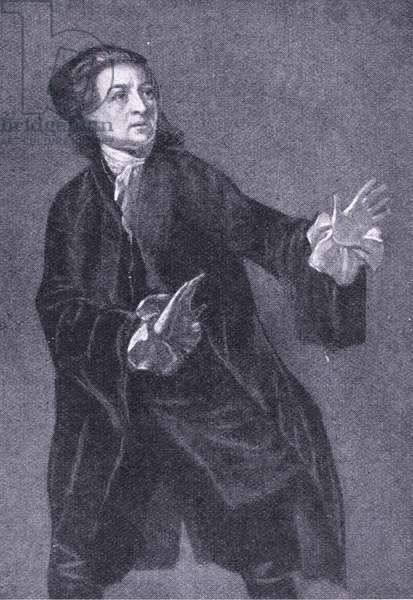 David Garrick playing Hamlet, illustration from'Cassell's Romance of Famous Lives', c.1940 (litho)