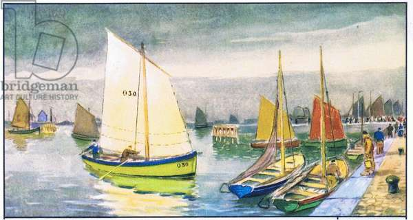 Prawn fishing vessel, illustration from Liebig Trade Cards (1940's) Old Fishing Boats of the Belgium coast (colour litho)