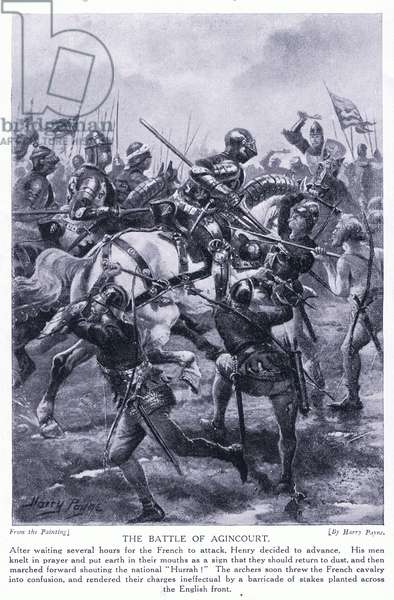 The Battle of Agincourt AD1415, 1920's (litho)