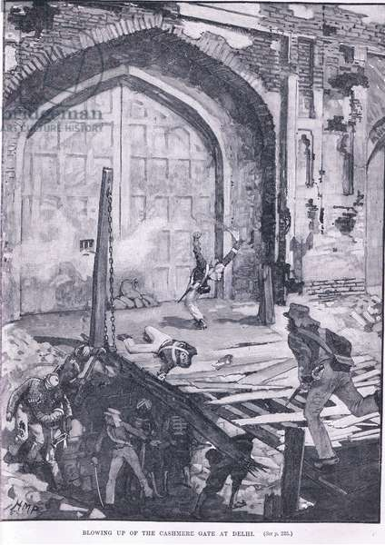 Blowing up the Cashmere Gate at Delhi 1857 AD (litho)