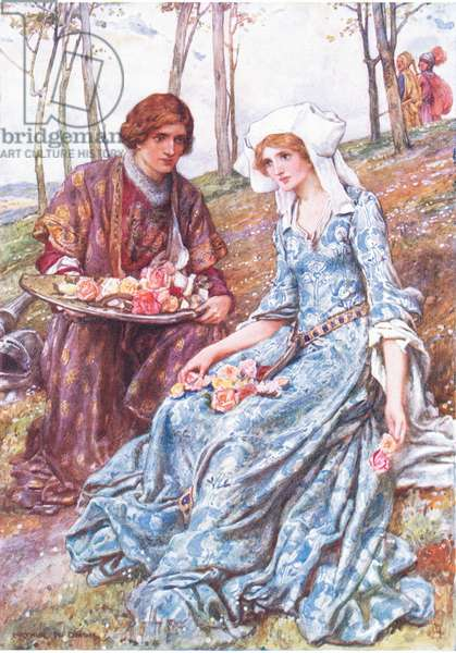 Geraint and Enid, illustration for 'Children's Stories from Tennyson' by Nora Chesson (colour litho)