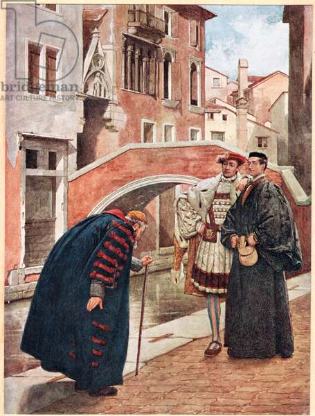 'With Bated Breath and Whispering Humbleness', illustration from 'The Merchant of Venice', c.1910 (colour litho)