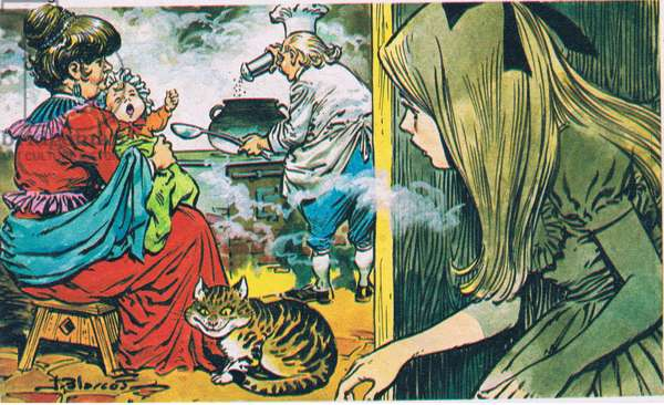 Alice and the Queen and the baby/Cheshire Cat, from Once Upon a Time Magazine, 1960-70 (colour litho)