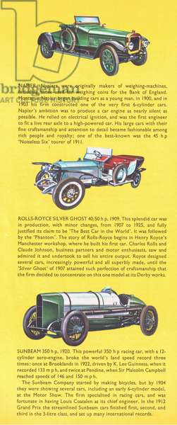 British veteran and vintage cars: Napier, Bentley, Rolls Royce Silver Ghost and Sunbeam, from Knowledge Magazine, 1963 (colour litho)