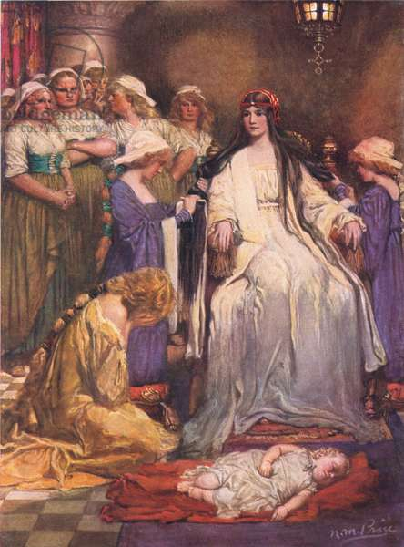 The Princess Sits in Judgement, illustration from 'The Children's Tennyson: Stories in Prose and Verse from Alfred Lord Tennyson' by May Byron, 1910 (colour litho)