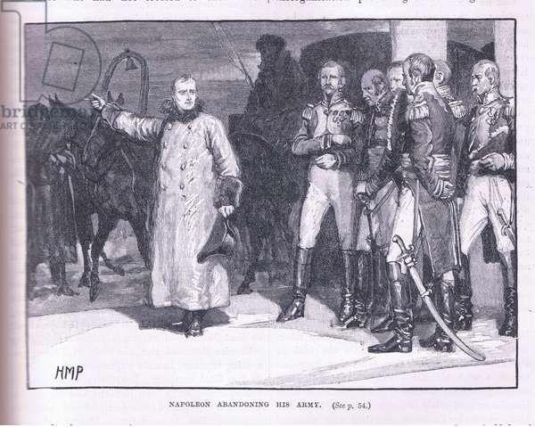Napoleon abandoning his army (litho)