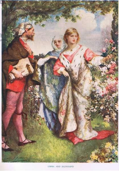 Emma and Eginhard (colour litho)