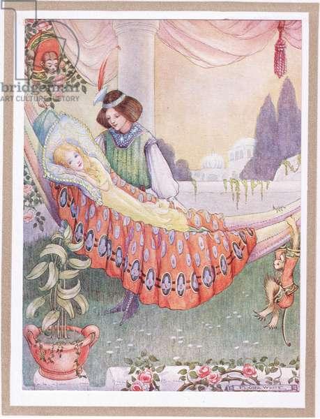 The princess put the maidens into hammocks  (colour litho)
