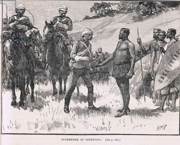 Surrender of Cetewayo, illustration from Cassell's 'Illustrated History of England', published c.1910 (litho)