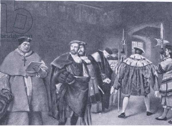 Dismissal of Cardinal Wolsey by King Henry VIII, from Cassells History of the British People published by the Waverley Book Company, c.1950's (colour litho)