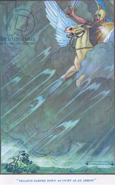 Pegasus darted down as swift as an arrow, from Myths from Many Lands pub.by The Waverley Book Co Limited, c.1920 (colour litho)