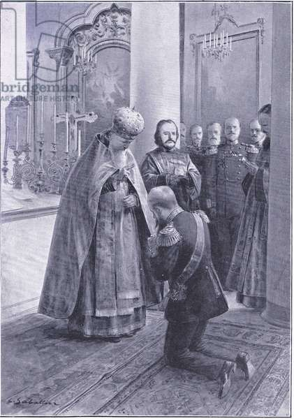 Father John of Cronstadt blessing Admiral Makaroff on his departure to succeed Admiral Stark at Port Arthur, illustration from'Cassells History of the Russo-Japanese War Vol 1', c.1900