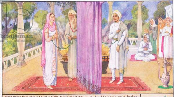 Exotic Marriage Costumes: An Indian marriage, from colour Liebig postcard (colour litho)